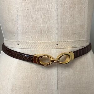 Accessories - Genuine Snakeskin Brown Belt With Gold Clasp